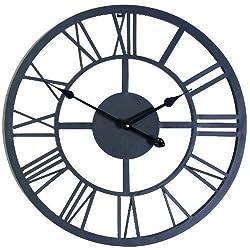 PS- Large Outdoor Indoor Roman Numeral Wall Clock Huge Big Antique Home Office Metal