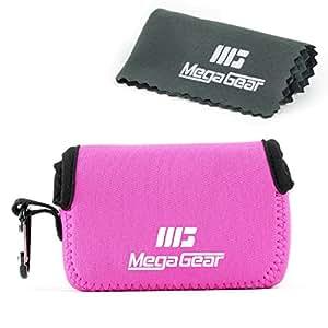 MegaGear ''Ultra Light'' Neoprene Camera Case Bag with Carabiner for Canon G16, G15, Sx170, Sx160, SX720, SX710, SX700, Sony DSC-HX50, DSC-HX60V cameras (HotPink)