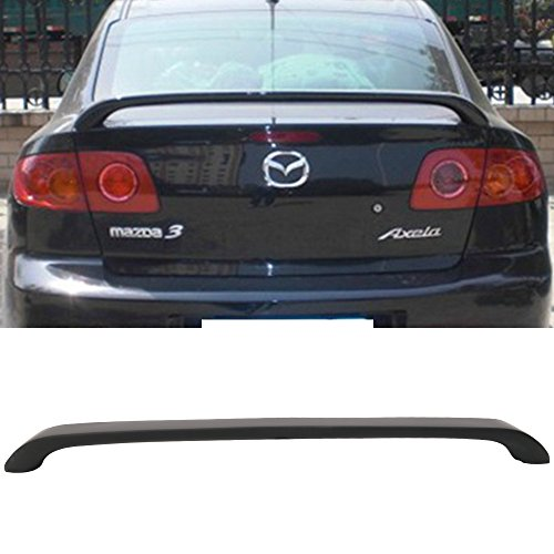 Trunk Spoiler Fits 2004-2009 Mazda 3 | OE Style ABS Unpainted Black Trunk Boot Lip Spoiler Wing Deck Lid By IKON MOTORSPORTS | 2005 2006 2007 2008