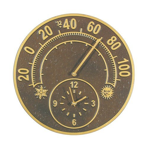 Whitehall Products Solstice Thermometer Clock, Antique Copper