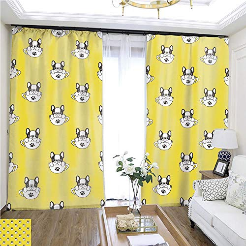 Curtain lace Dog Seamless Pattern French Bulldog Isolated Cup paw Puppy Wallpaper Yellow W72 x L75 Wide Curtain for Insulation Highprecision Curtains for bedrooms Living Rooms Kitchens - Pattern Nylon Paw