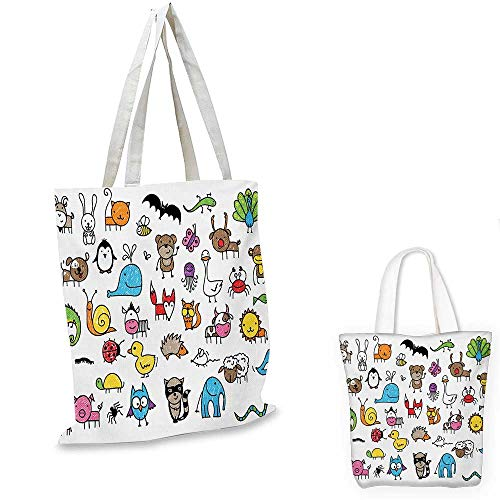 Doodle easy shopping bag Collection of Cartoon Style Animals Drawn in Child Friendly Manner Cute Adorable Fun emporium shopping bag Multicolor. 12