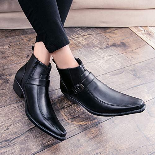ポインテッドトゥ ショートブーツ サイドジッパー 紳士靴 革靴 メンズ 皮靴 ベルト ローヒール リングブーツ ビジネスブーツ 通勤 フォーマル オフィス ビジネスシューズ ジップ 脱ぎ履きやすい おしゃれ 秋 冬くつ メンズ