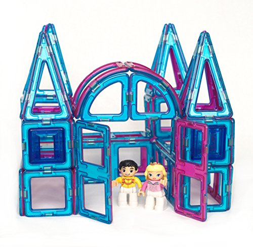 Magnetic Tile Princess Castle Set - 62 Piece Palace Kit with Prince (Best Sellers Tile)