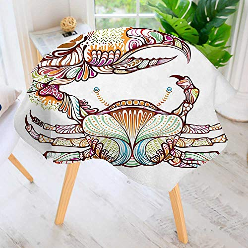aolankaili Hand Screen Printed Tablecloth-Embellished Crab with Ornate Lines Cancer Modern Printed Spill Proof Cloth Round Tablecloths 55
