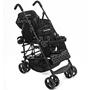 Kinderwagon BLACK Hop Double Child Stroller w/ Canopy