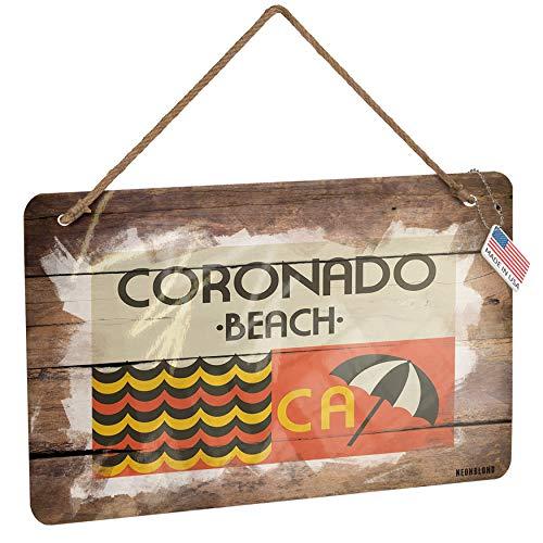 (NEONBLOND Metal Sign US Beaches Retro Coronado Beach Christmas Wood Print)