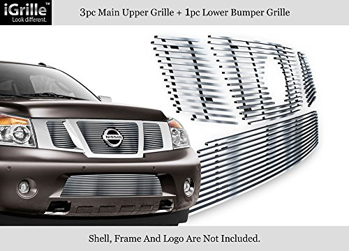 - Fits 2008-2014 Nissan Armada Billet Grille with Logo Show Stainless Bilelt Grille #N67779C