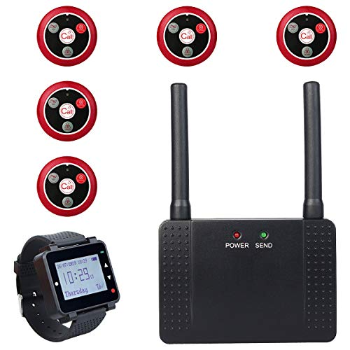 (Retekess T128 Wireless Calling System Long Range 5 Call Buttons Rechargeable Pager with 1 Repeater Signal Amplifier 3280+Feet for Restaurant Shop )