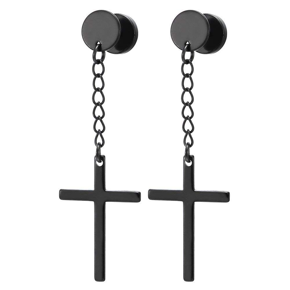Circle Screw Stud Earrings with Dangle Cross for Men Women (Black)