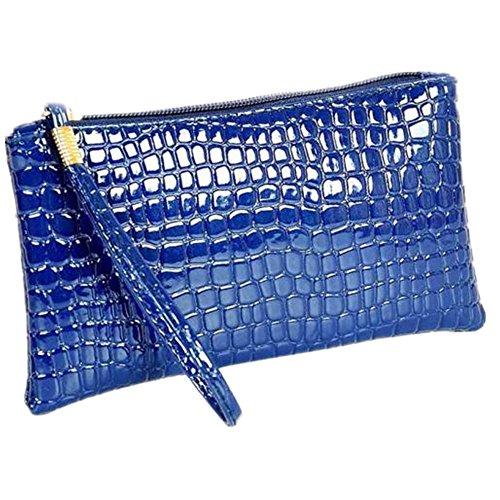 A Cher À Sac D'embrayage Bandoulière femmes En Cuir Crocodile Zycshang Femmes Main Sacs Bleu Cuir Pas g5qW716w
