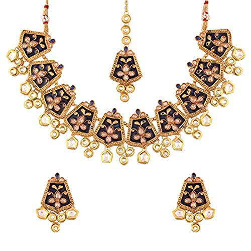 Aheli Indian Traditional Faux Kundan Enamel Necklace with Maang Tikka Set Wedding Party Wear Fashion Jewelry for Women]()