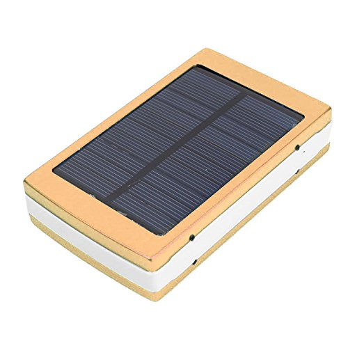 Eachbid Solar Charger Battery Portable 25000mAh Solar Battery Charger with 20 LED Camp Light, Dual USB output Solar Powered Phone Charger for iPhone, iPod, iPad, Samsung, HTC, GPS Camera Gold