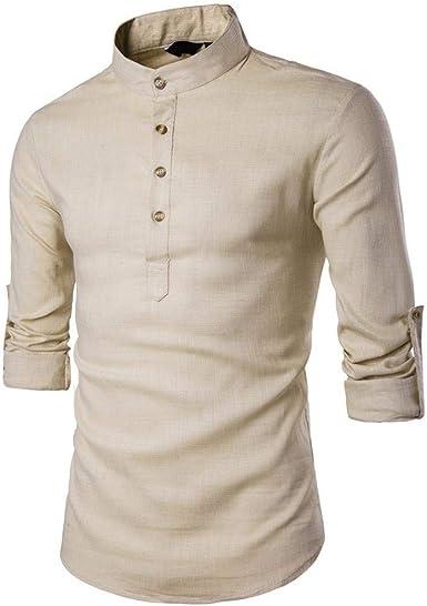 Camisas Hombre Primavera Otoño Manga Larga Hombre Stand Hombres Esencial Hombres Camisetas Cuello Camisa De Lino Tops Tops: Amazon.es: Ropa y accesorios