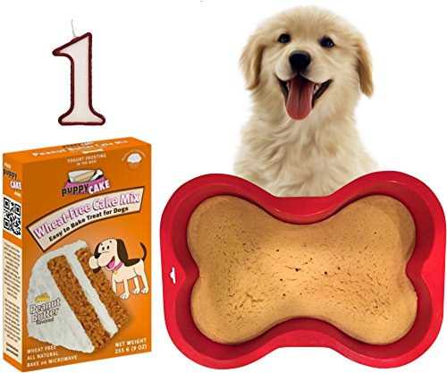 Dog 1st Birthday Cake Kit | Puppy Cake Wheat-Free Peanut Butter Dog Cake Mix | Happybotham Silicone Dog Bone Birthday Cake Pan for Dogs, 7-Inch by 10-Inch, Small | Number One Birthday Candle ()
