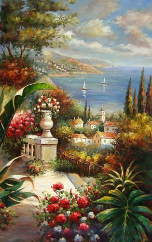 - 100% Hand Painted Nice Mediterranean sea landscape in summer & flowers Canvas Oil Painting for Home Wall Art by Well Known Artist, Framed, Ready to Hang