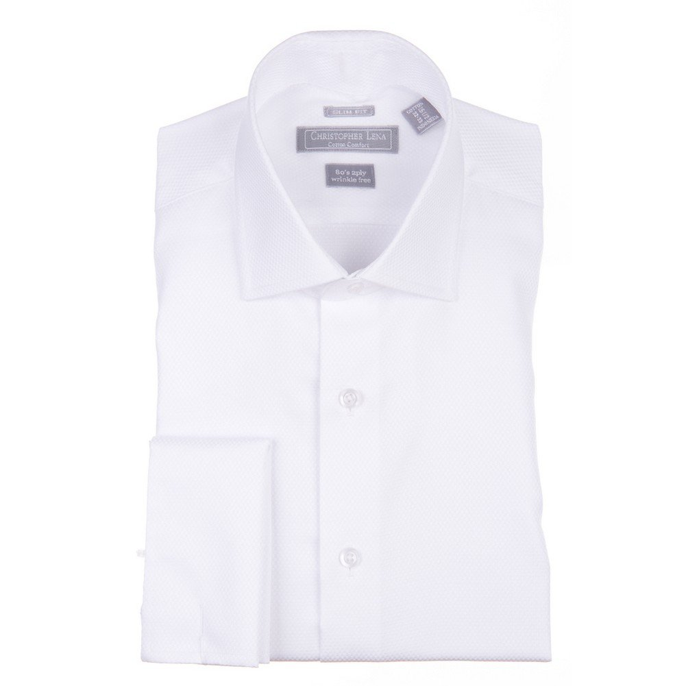 Christopher Lena Mens Contemporary (Slim) Fit French Cuff Tuxedo Shirt - Wing Tip & Laydown Collar C514KSOF