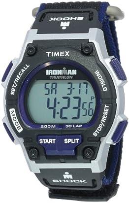 Timex Men's T5K198 Ironman Original 30 Shock Full-Size Black/Dark Blue Fast Wrap Watch