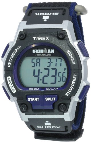 (Timex Men's T5K198 Ironman Original 30 Shock Full-Size Black/Dark Blue Fast Wrap Watch)