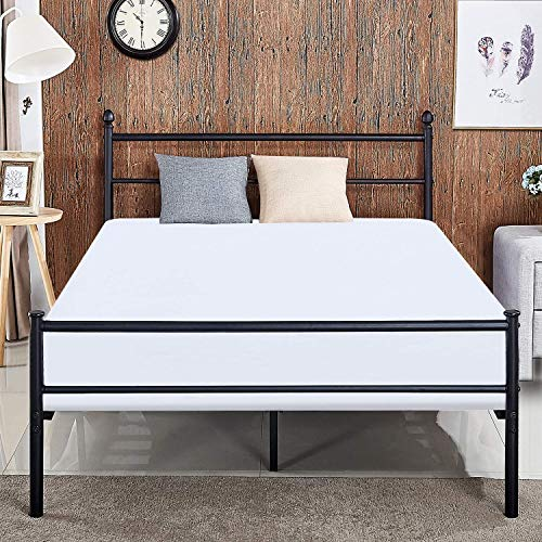 (VECELO Reinforced Metal Bed Frame Queen Size Platform Mattress Foundation/Box Spring Replacement with Headboard & Footboard)