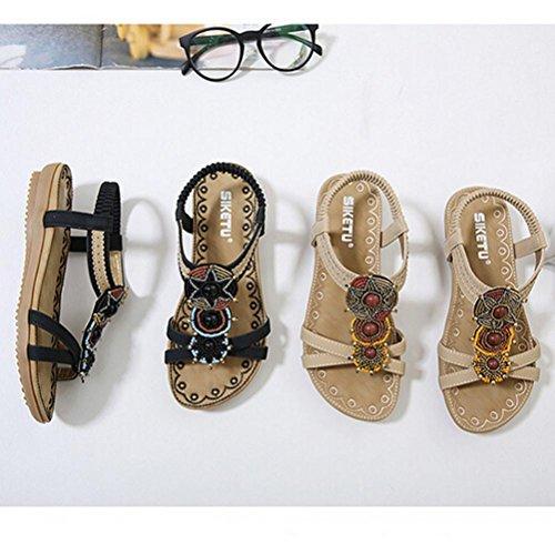 Summer Bohe Sandals Women Ladies Brown Sandals Style Shoes Comfy Flat Transer® wqxRapZx