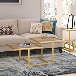 Living Room Henn&Hart Modern Chic 2-Tier Coffee Table for Living Room, 18″ H x 43″ L x 23″ W, Golden Brass modern coffee tables