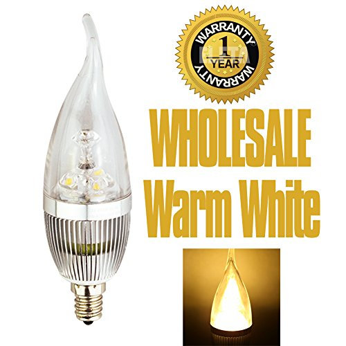 ELETA Wholesale closeout 36 Packsof 6pcs E12 LED Candelabra / Chandelier Bulbs (total 216pcs), Warm White 3000 Kelvin, 250 Lumens, 3W Equivalent to 25W, Non-Dimmable, Flame Shape