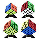 x pack - JoyTown Speed Cube Set of 4 Bundle Pack, 2x2 3x3 4x4 5x5 Puzzle Cube, Speedcubing with Bonus Four Stands and Screwdirver Black