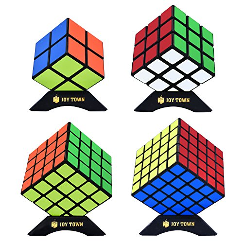 Black Cube Collection - JoyTown Speed Cube Set of 4 Bundle Pack, 2x2 3x3 4x4 5x5 Puzzle Cube, Speedcubing with Bonus Four Stands and Screwdirver Black