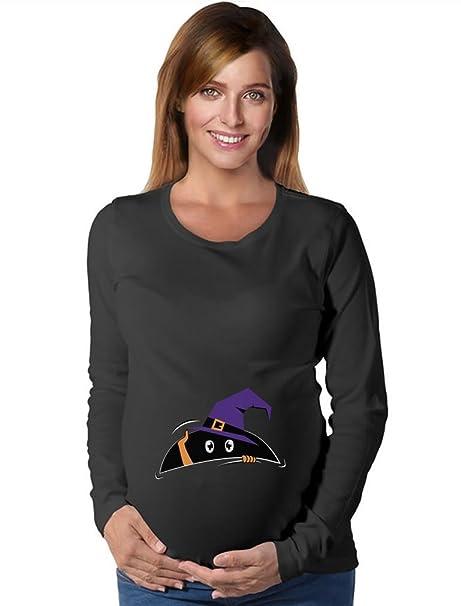 76968e42 Tstars Halloween Pregnancy Costume Peek a Boo Baby Funny Maternity Long  Sleeve Shirt Small Black