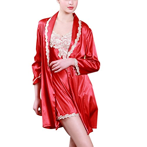 Zhhlaixing Elegant Womens Silk Nightgown Sleepwear 2 pieces Comfortable Luxury Pajamas Set Chinese red