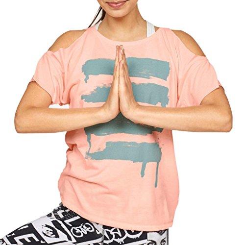 Hot Sale!Mr. Macy Women's Short Sleeve Off Shoulder Shirt Casual Blouse Loose Tops T-Shirt Printing Shoulder Short Sleeve Ť Casual Shirt Yoga Shirt (L, - Macys Sale Women