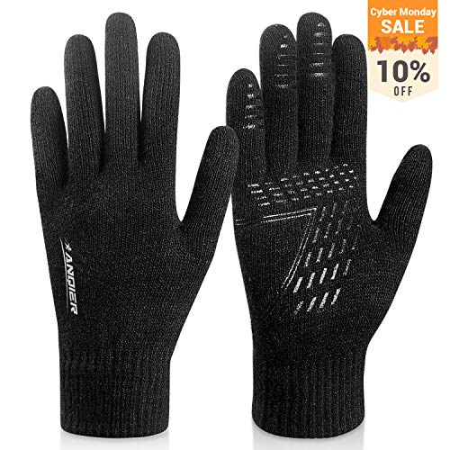 FengNiao Winter Knit Gloves Men Women Touchscreen Texting Gloves Knitted Wool Lined Thermal Running Gloves