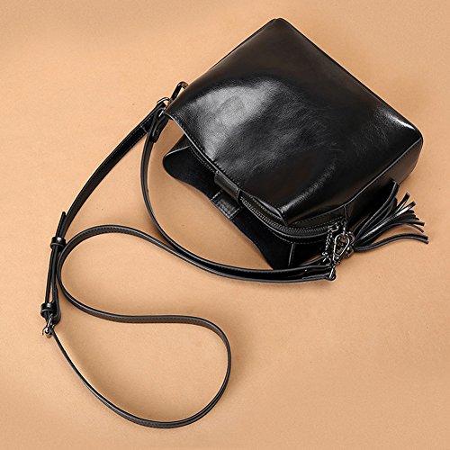 Bags Nouveau En à Cuir Pour Les Dames Retro Sac à Bandoulière Véritable Black Tote Main Femmes Womens Sacs rvUxPrwBqt