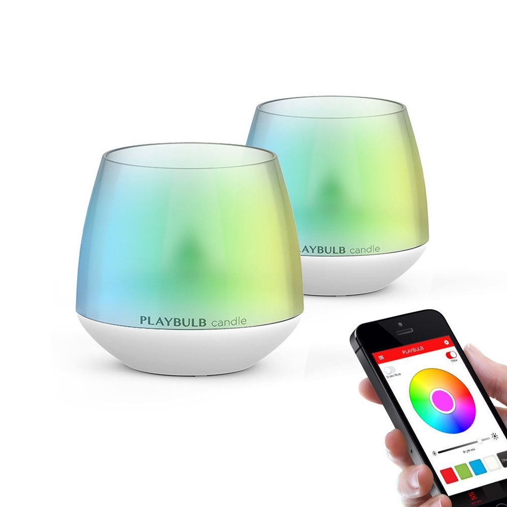 2-Pack PLAYBULB LED Candles Free App - Smart Bluetooth Color Changing Flameless Candles with Timer and APP Remote Control - for Kids/Party/Night Light/Candle Holder/Christmas/Wedding Decor by PLAYBULB