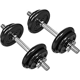 Amazon Basics Adjustable Barbell Lifting Dumbells Weight Set with Case – 38 Pounds, Black