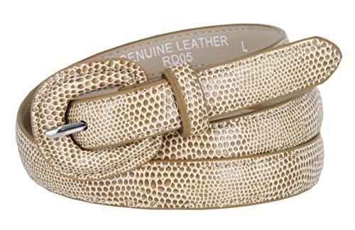 Snake Embossed Belt (Women's Skinny Snakeskin Embossed Genuine Leather Dress Belts 3/4