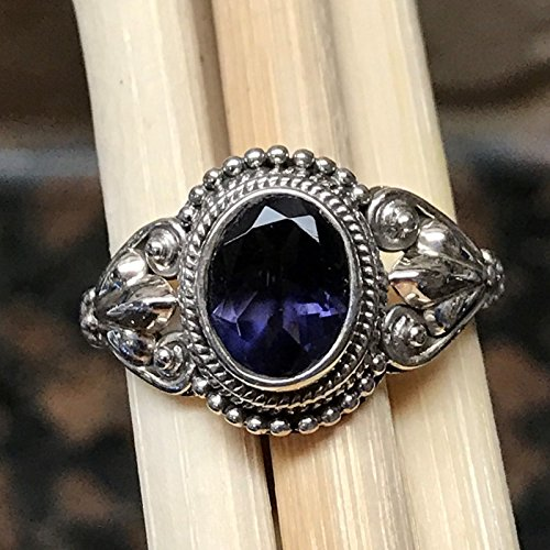 Genuine 1.5ct Iolite Water Sapphire 925 Solid Sterling Silver Art Deco Engagement Ring sz ()