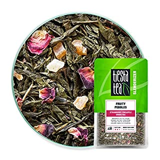 Tiesta Tea - Fruity Pebbles, Loose Leaf Strawberry Pineapple Green Tea, Medium Caffeine, Hot & Iced Tea, 1.6 oz Pouch - 25 Cups, Natural, Green Tea Loose Leaf