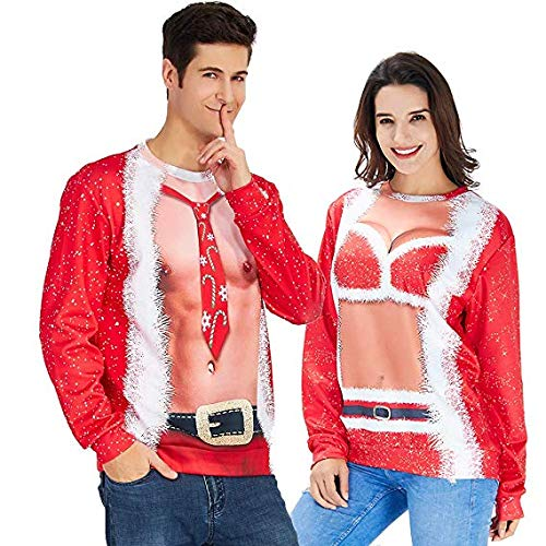 Rave on Friday Lovely Printing Mens Christmas Fake 2 Pieces Graphic Sweatshirts Personalized Festival Xmas Prom Pullover Sweater XL