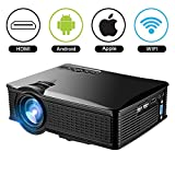 1080 Projector Screen - 1500Lumens Mini Projector, Mengyasi Portable Home Theather Video Projector 1080p Full HD Led Movie Projector Support HDMI AV VGA USB SD for Home Cinema TV Laptop Game iPhone Android Smartphone