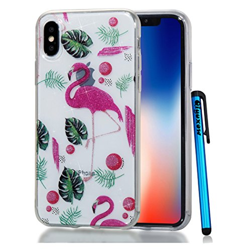 new style f5720 63759 iPhone X Case, Qiyuxow iPhone X CLEAR Case Soft Bright Glitter Sparkle Art  Print Anti-Scratch TPU Bumper Protective Cover for iPhone X / iPhone 10 ...