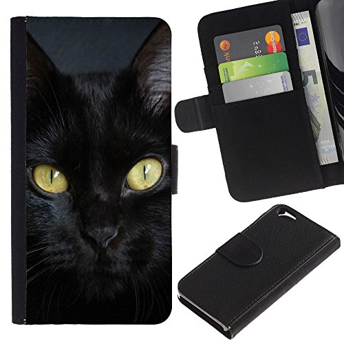 EuroCase - Apple Iphone 6 4.7 - Bombay cat breed chartreux black - Cuir PU Coverture Shell Armure Coque Coq Cas Etui Housse Case Cover