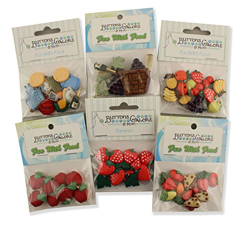 Buttons Galore FUNWITHFOODGROUP Food Button Theme Pack - Set of 6 by Buttons Galore