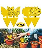 24 Pack dubbelzijdige gele vangplaten Gnat Trap PVC Waterdicht for Insect tegen varenrouwmug, wittevlieg, bladluizen, Mineervliegen, Flying Plant Insect (Color : 24-PACK)