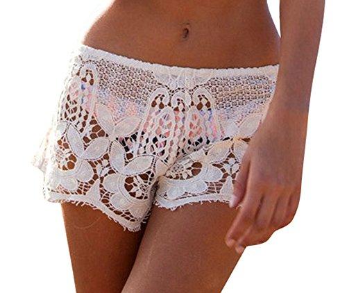 Sexy Lace Short - Creabygirls Women's Sexy Hollow Crochet Lace Mini Shorts (Medium,White)