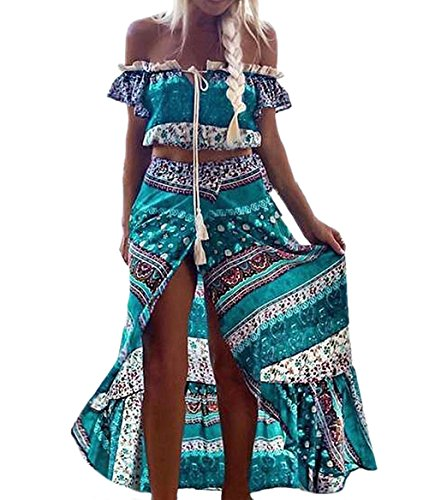 Conjunto boho chic de 2 piezas, falda - blusa