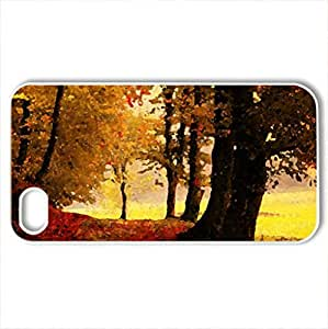Autumn Forest Road - Case Cover for iPhone 4 and 4s (Forests Series, Watercolor style, White)