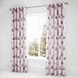 Catherine Lansfield Woodland Friends Easy Care Eyelet Curtains Pink 66x72Inch