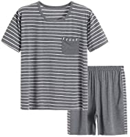 Latuza Men's Summer Modal Sleepwear Striped Design Casual Pajama Set